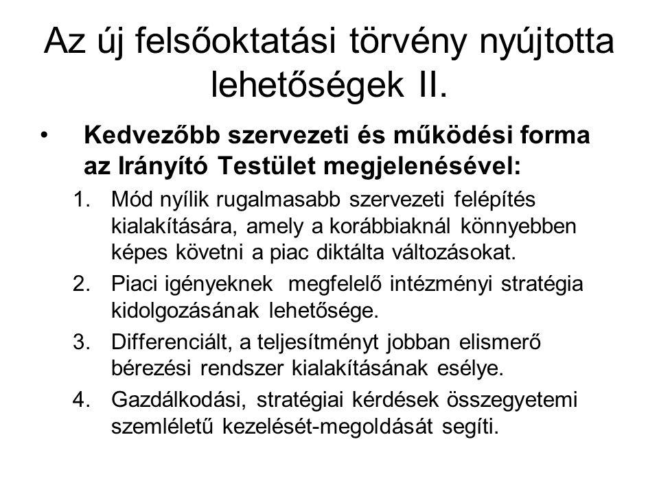 Az új felsőoktatási törvény nyújtotta lehetőségek II.