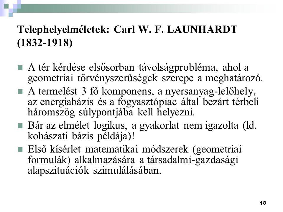 18 Telephelyelméletek: Carl W.F.
