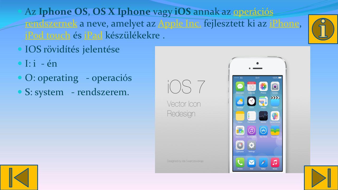 Az Iphone OS, OS X Iphone vagy iOS annak az operációs rendszernek a neve, amelyet az Apple Inc.