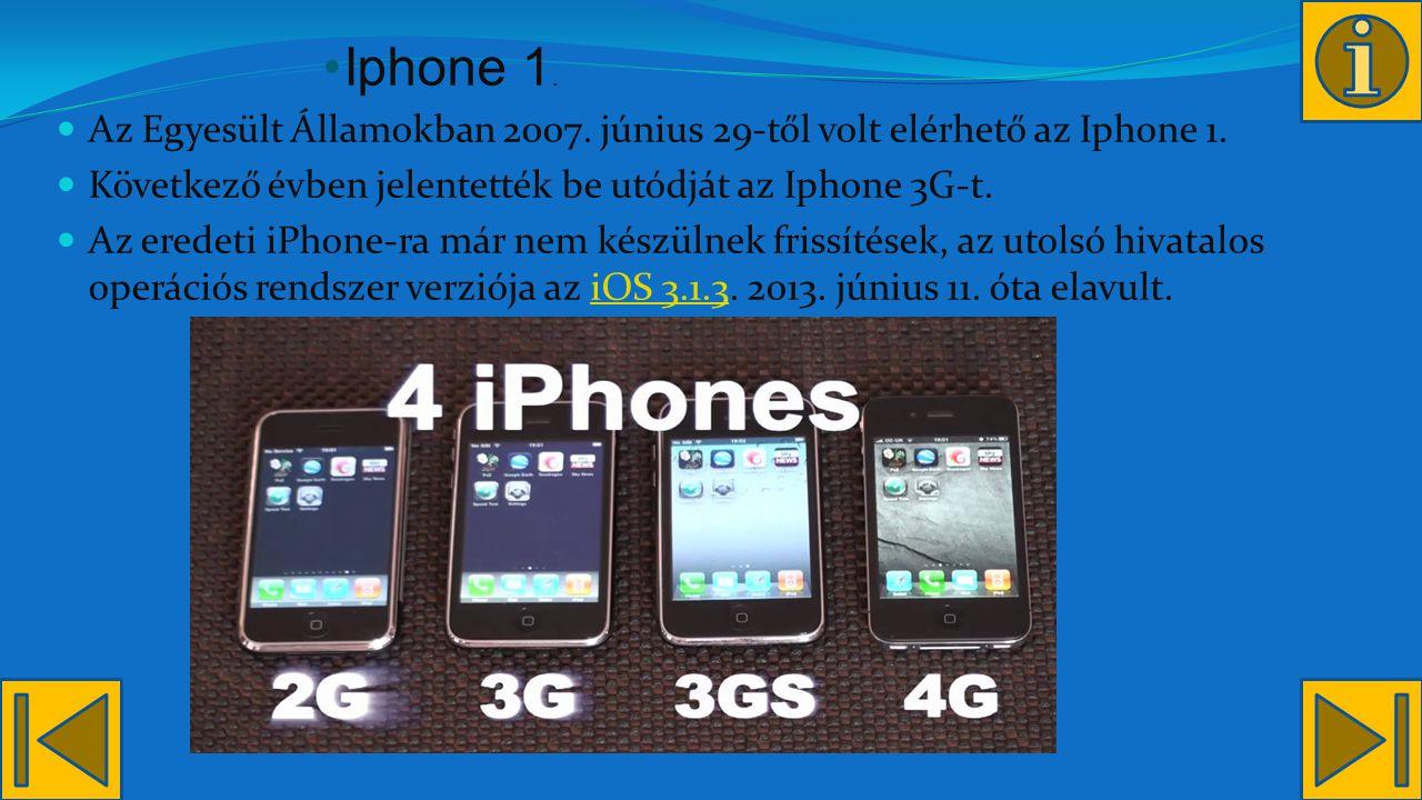 Iphone 1.Az Egyesült Államokban 2007. június 29-től volt elérhető az Iphone 1.