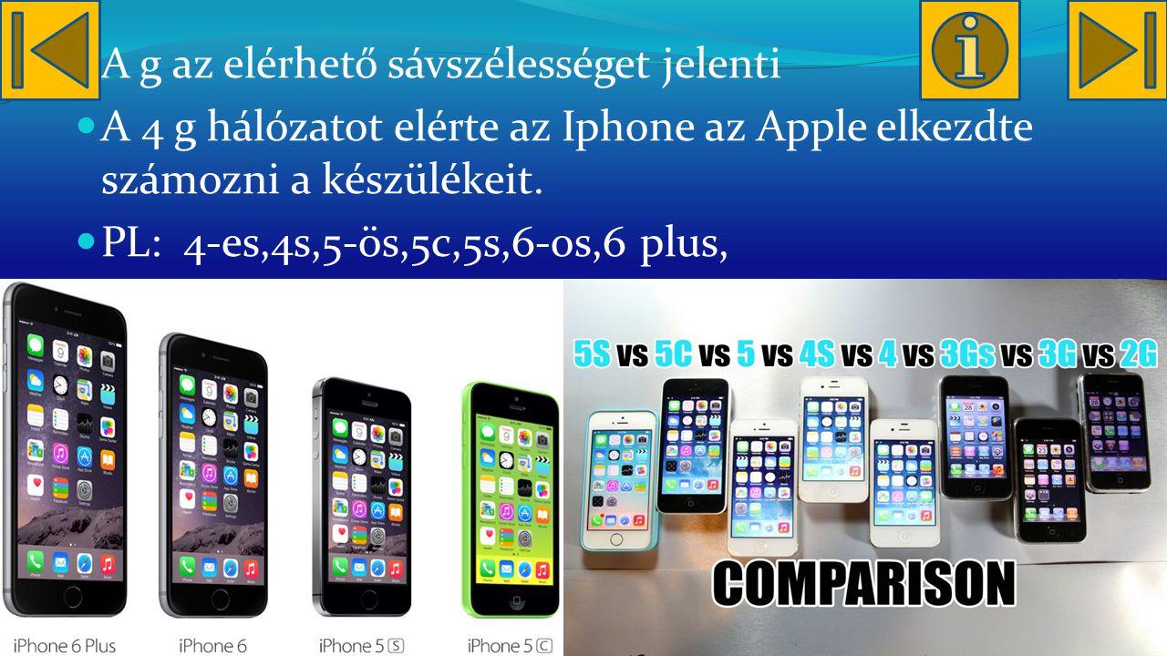 A g az elérhető sávszélességet jelenti A 4 g hálózatot elérte az Iphone az Apple elkezdte számozni a készülékeit.