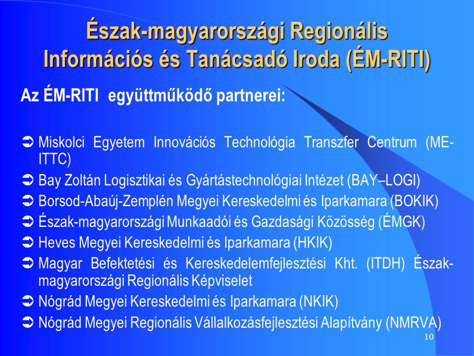 10 Észak-magyarországi Regionális Információs és Tanácsadó Iroda (ÉM-RITI) Az ÉM-RITI együttműködő partnerei:  Miskolci Egyetem Innovációs Technológia Transzfer Centrum (ME- ITTC)  Bay Zoltán Logisztikai és Gyártástechnológiai Intézet (BAY–LOGI)  Borsod-Abaúj-Zemplén Megyei Kereskedelmi és Iparkamara (BOKIK)  Észak-magyarországi Munkaadói és Gazdasági Közösség (ÉMGK)  Heves Megyei Kereskedelmi és Iparkamara (HKIK)  Magyar Befektetési és Kereskedelemfejlesztési Kht.