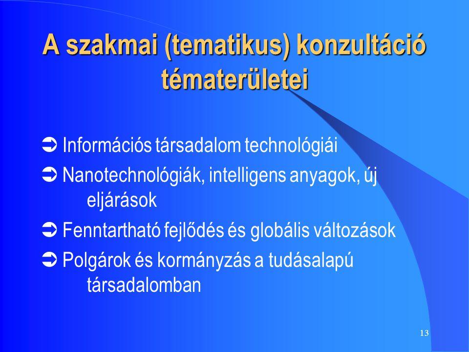 13 A szakmai (tematikus) konzultáció tématerületei  Információs társadalom technológiái  Nanotechnológiák, intelligens anyagok, új eljárások  Fenntartható fejlődés és globális változások  Polgárok és kormányzás a tudásalapú társadalomban