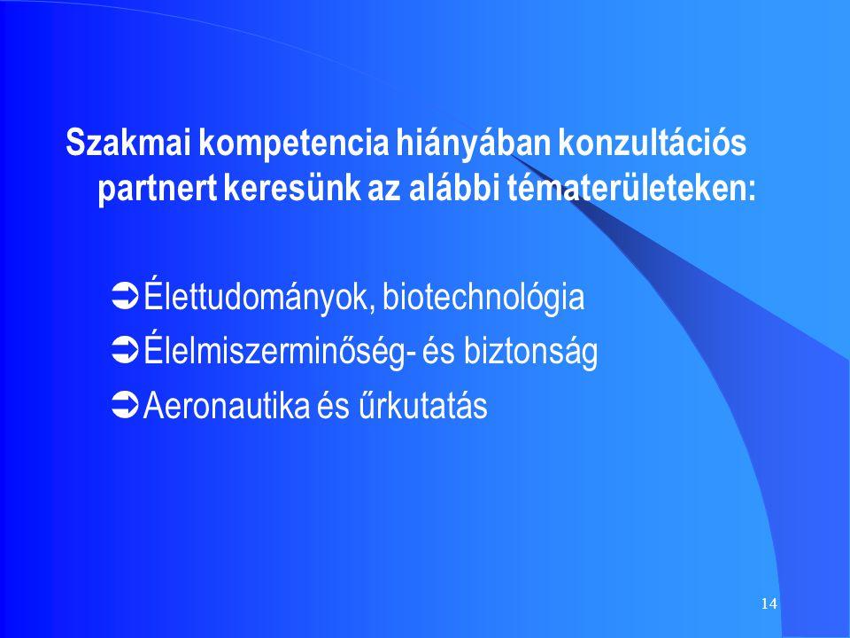 14 Szakmai kompetencia hiányában konzultációs partnert keresünk az alábbi tématerületeken:  Élettudományok, biotechnológia  Élelmiszerminőség- és biztonság  Aeronautika és űrkutatás