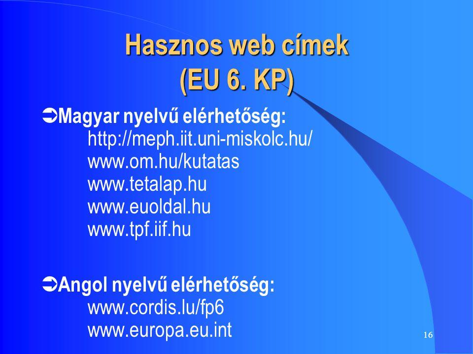 16 Hasznos web címek (EU 6. KP)  Magyar nyelvű elérhetőség: http://meph.iit.uni-miskolc.hu/ www.om.hu/kutatas www.tetalap.hu www.euoldal.hu www.tpf.i