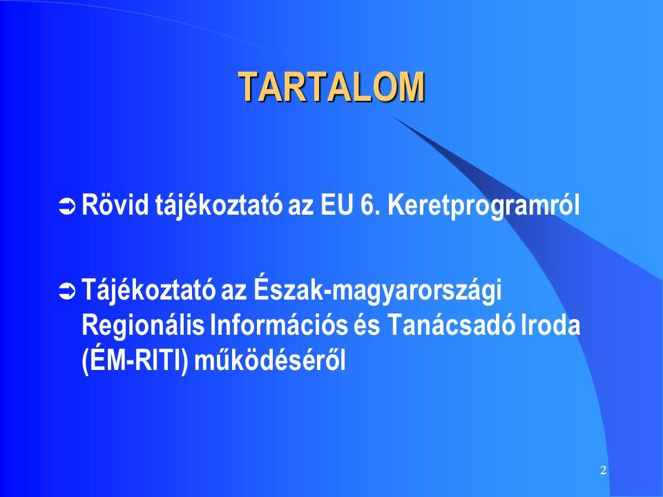 2 TARTALOM  Rövid tájékoztató az EU 6. Keretprogramról  Tájékoztató az Észak-magyarországi Regionális Információs és Tanácsadó Iroda (ÉM-RITI) működ