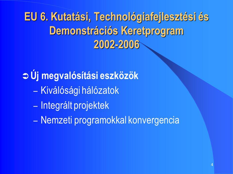 4 EU 6. Kutatási, Technológiafejlesztési és Demonstrációs Keretprogram 2002-2006  Új megvalósítási eszközök – Kiválósági hálózatok – Integrált projek