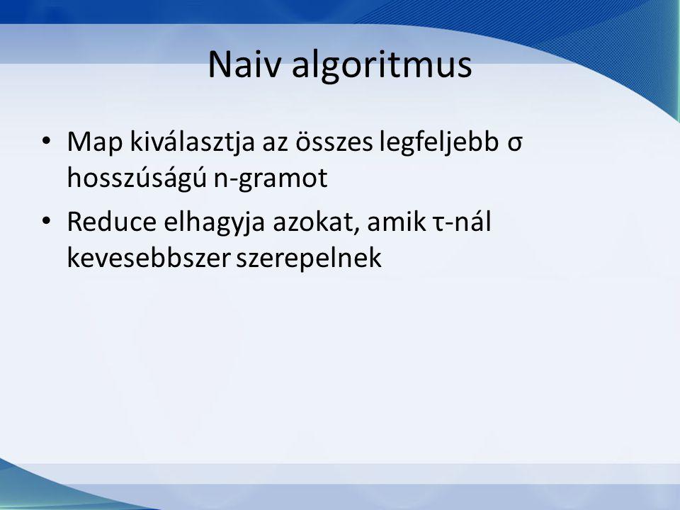 Naiv algoritmus Map kiválasztja az összes legfeljebb σ hosszúságú n-gramot Reduce elhagyja azokat, amik τ-nál kevesebbszer szerepelnek