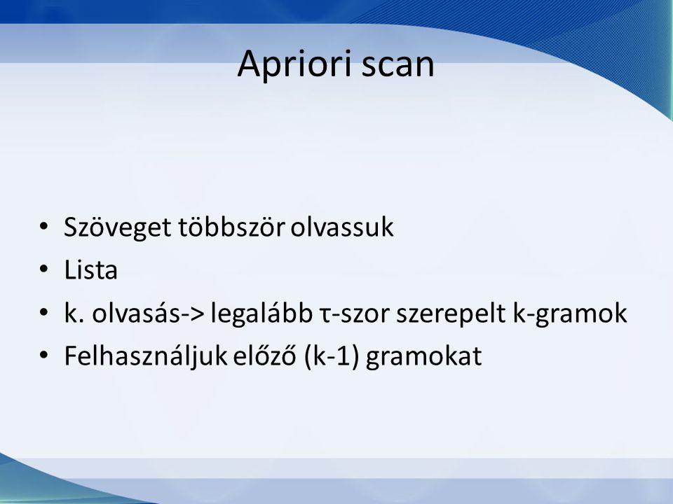Apriori scan Szöveget többször olvassuk Lista k. olvasás-> legalább τ-szor szerepelt k-gramok Felhasználjuk előző (k-1) gramokat
