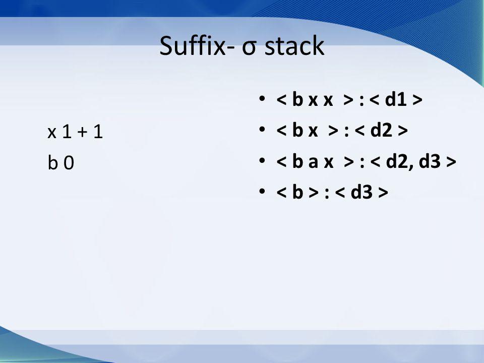 Suffix- σ stack x 1 + 1 b 0 :