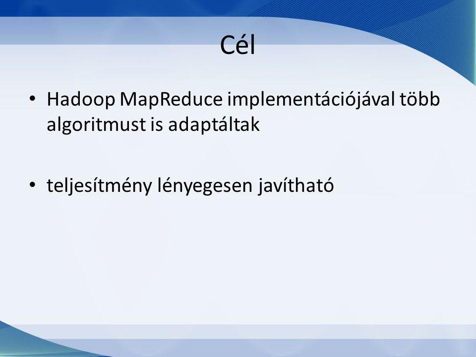 Cél Hadoop MapReduce implementációjával több algoritmust is adaptáltak teljesítmény lényegesen javítható