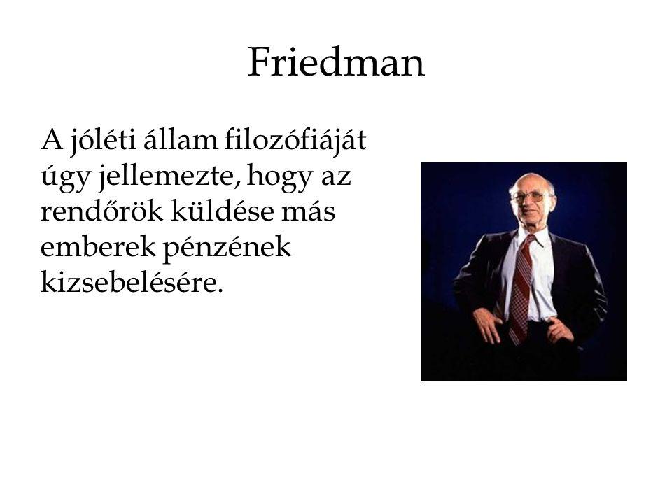 Friedman A jóléti állam filozófiáját úgy jellemezte, hogy az rendőrök küldése más emberek pénzének kizsebelésére.