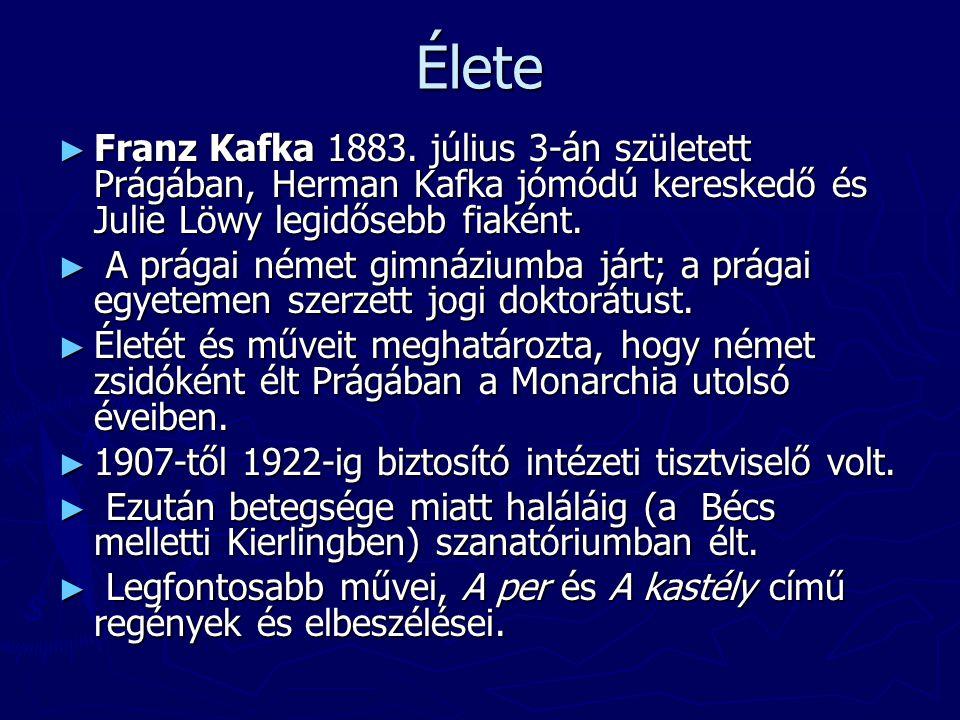 Élete ► Franz Kafka 1883. július 3-án született Prágában, Herman Kafka jómódú kereskedő és Julie Löwy legidősebb fiaként. ► A prágai német gimnáziumba