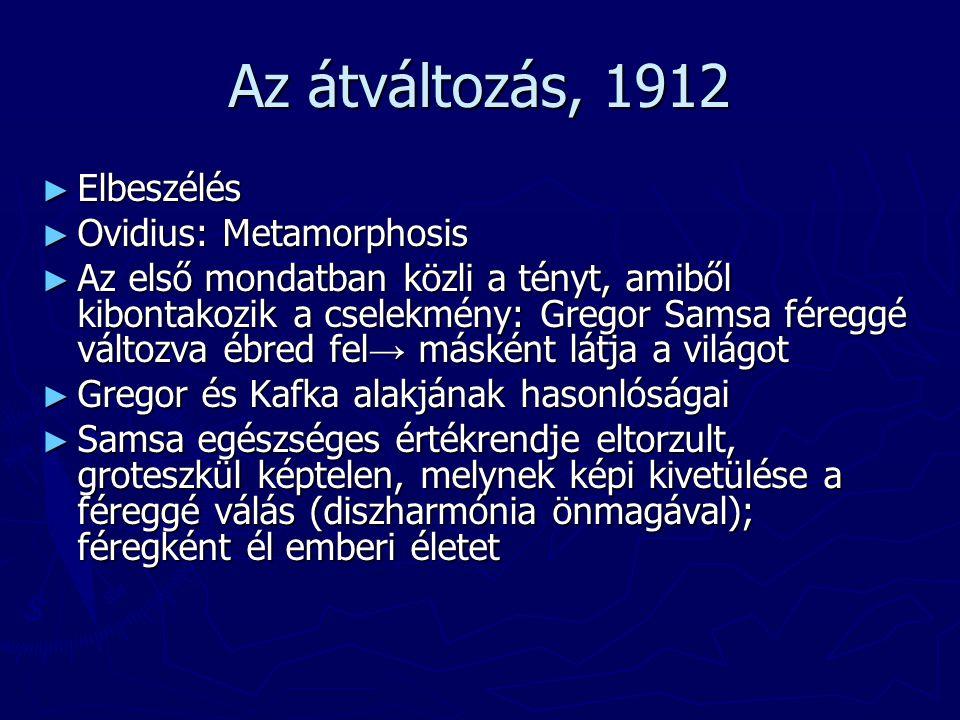 Az átváltozás, 1912 ► Elbeszélés ► Ovidius: Metamorphosis ► Az első mondatban közli a tényt, amiből kibontakozik a cselekmény: Gregor Samsa féreggé vá