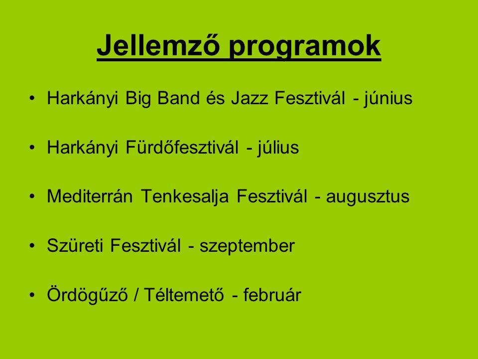 Jellemző programok Harkányi Big Band és Jazz Fesztivál - június Harkányi Fürdőfesztivál - július Mediterrán Tenkesalja Fesztivál - augusztus Szüreti Fesztivál - szeptember Ördögűző / Téltemető - február