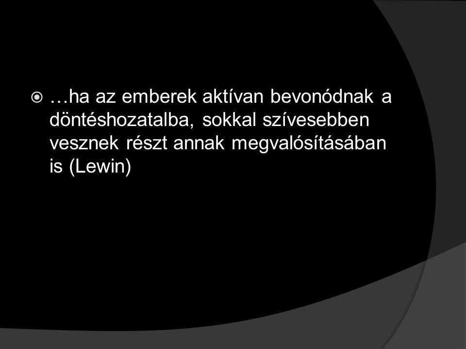  …ha az emberek aktívan bevonódnak a döntéshozatalba, sokkal szívesebben vesznek részt annak megvalósításában is (Lewin)