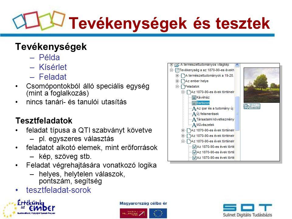 Publikáció Különböző célú megjelenítés –web: HTML publikáció (http://sdt.sulinet.hu) –forrásállományok, xml leírók: SDT Tananyagszerkesztő –nyomtatási formátum: pl.