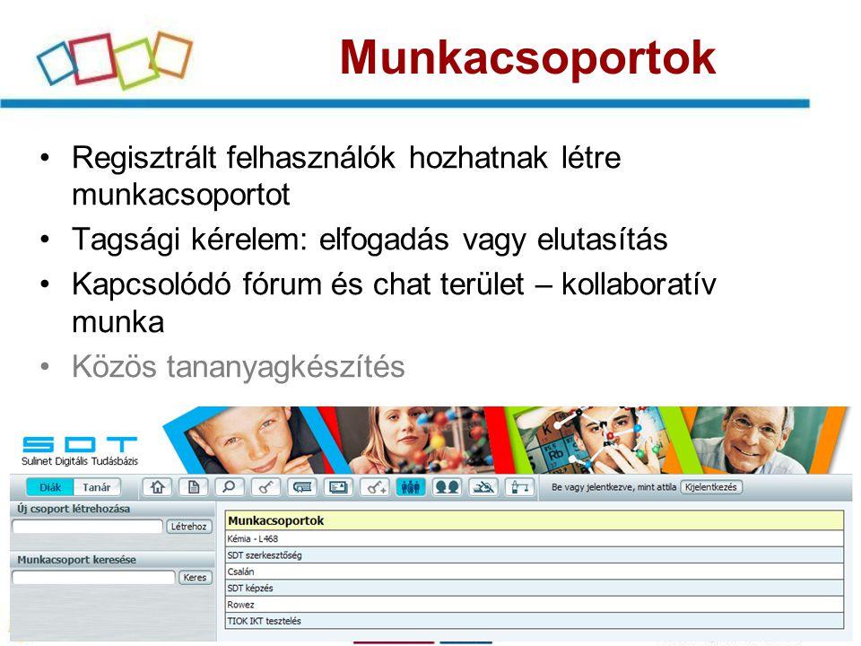 Fórum Munkacsoporthoz rendelt fórumok –Kommunikáció –Oktatási alkalmazások A munkacsoport létrehozója a fórum(ok) adminisztrátora is Operátori jog továbbadható Saját fórumok és témák létrehozása Mellékletek csatolhatóak