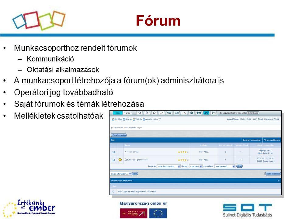 Chat Munkacsoporthoz rendelt chat szobák A munkacsoport létrehozója lesz a chat adminisztrátora is Szerepjáték lehetősége Moderálás