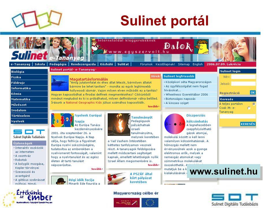 SDT- evolúció SDT 1.0 tesztverzió (2004) Web-es lejátszó 9 tananyag módszertani információk tesztelés SDT 2.0 éles rendszer (2006) –új tananyagok –új típusú objektumok –új pedagógiai tulajdonságok kimeneti követelmények kompetencia területek