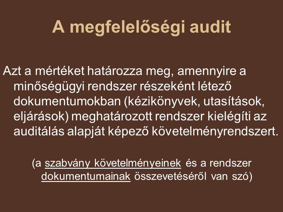 A megfelelőségi audit Azt a mértéket határozza meg, amennyire a minőségügyi rendszer részeként létező dokumentumokban (kézikönyvek, utasítások, eljárá
