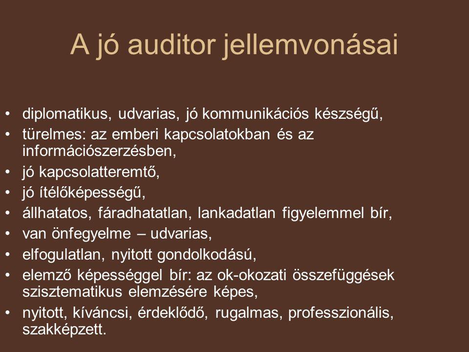 A jó auditor jellemvonásai diplomatikus, udvarias, jó kommunikációs készségű, türelmes: az emberi kapcsolatokban és az információszerzésben, jó kapcso