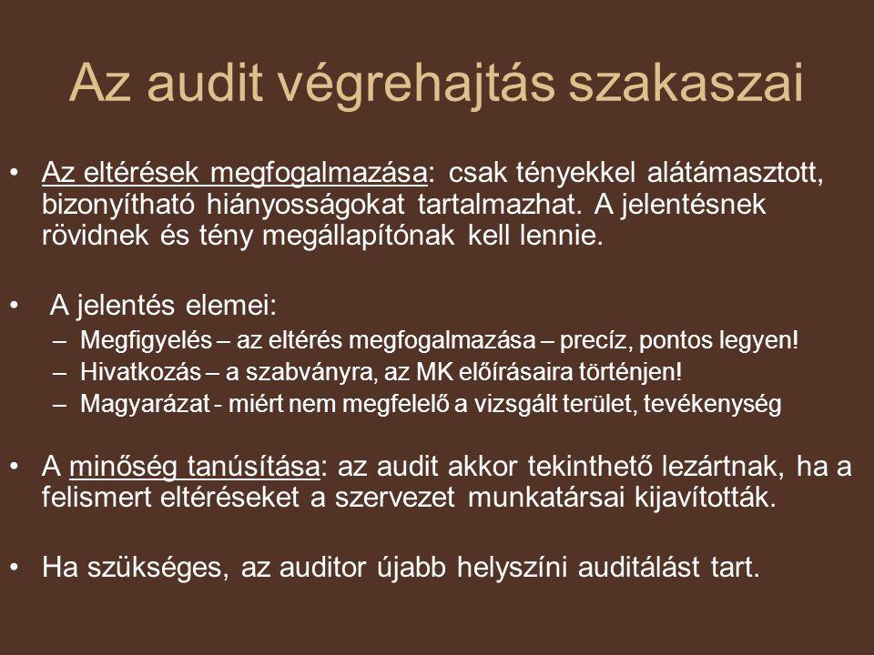 Az audit végrehajtás szakaszai Az eltérések megfogalmazása: csak tényekkel alátámasztott, bizonyítható hiányosságokat tartalmazhat. A jelentésnek rövi