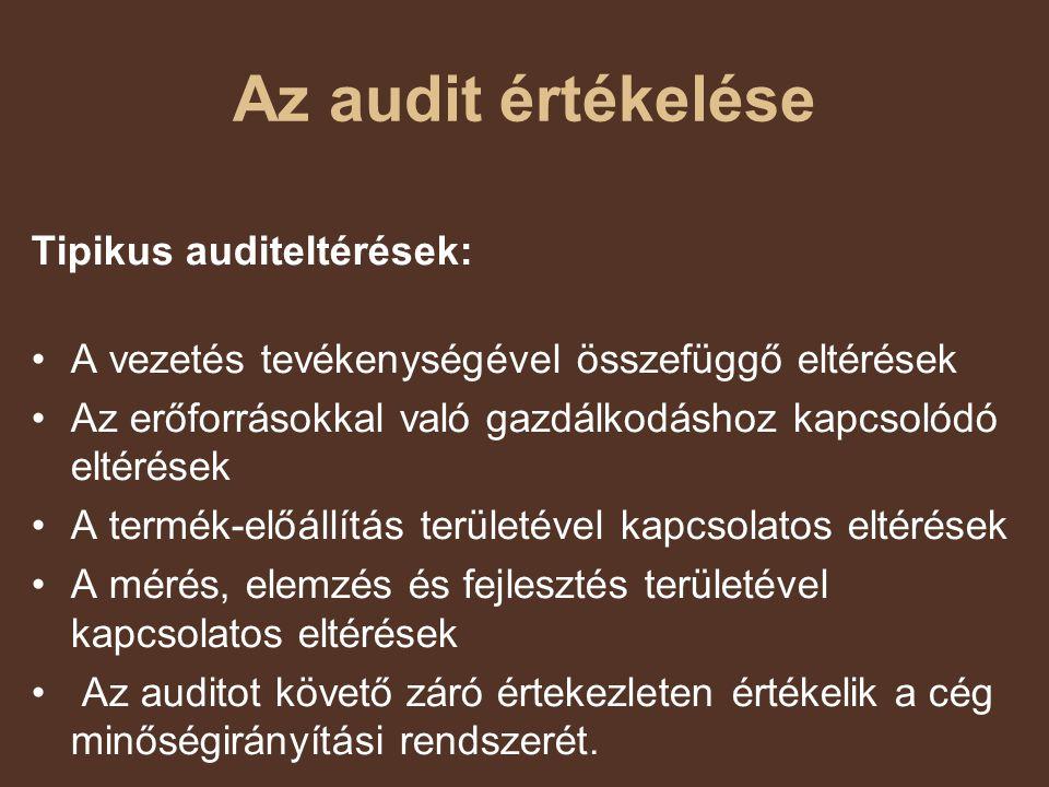 Az audit értékelése Tipikus auditeltérések: A vezetés tevékenységével összefüggő eltérések Az erőforrásokkal való gazdálkodáshoz kapcsolódó eltérések