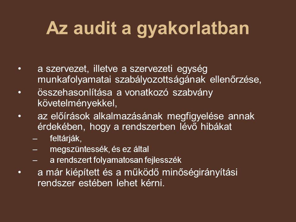 Az audit a gyakorlatban a szervezet, illetve a szervezeti egység munkafolyamatai szabályozottságának ellenőrzése, összehasonlítása a vonatkozó szabván