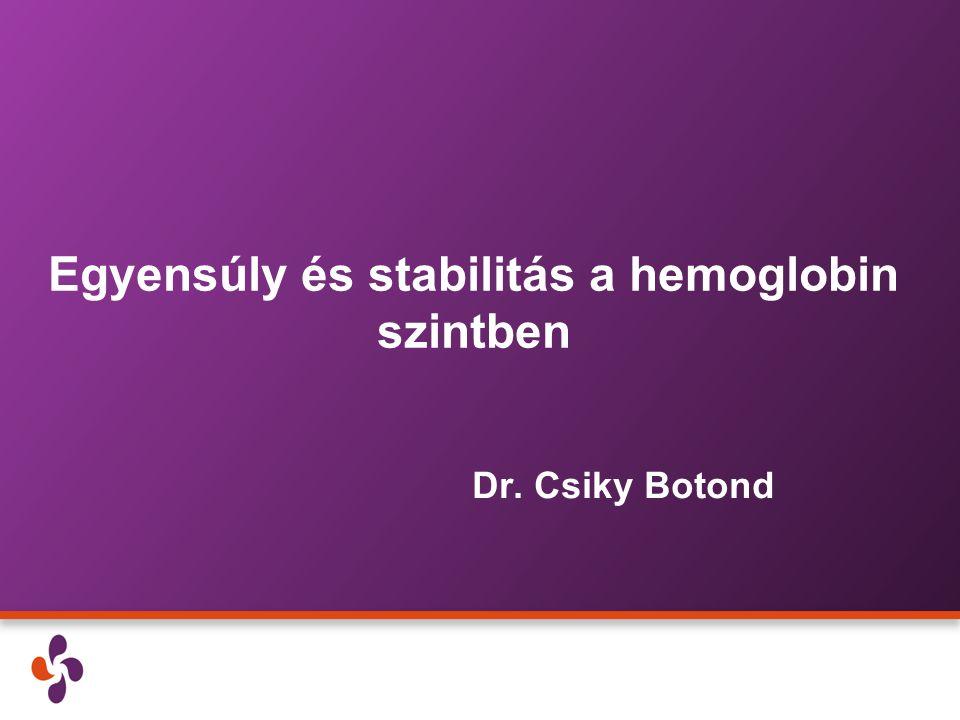 Egyensúly és stabilitás a hemoglobin szintben Dr. Csiky Botond