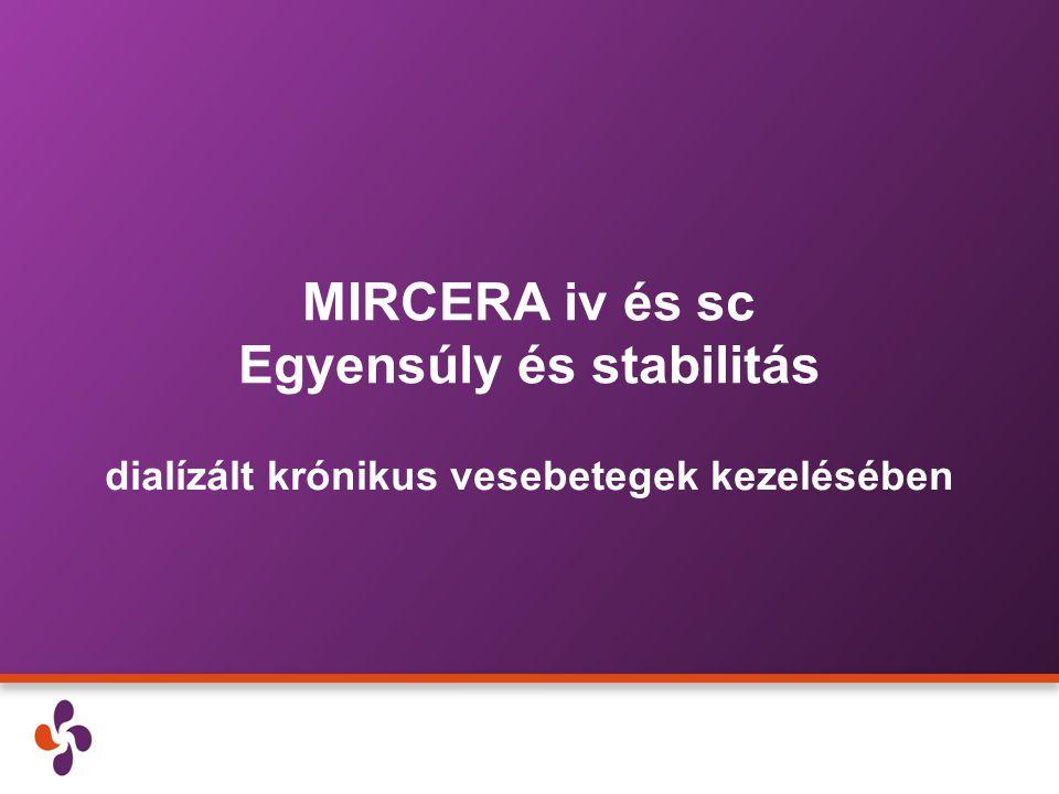 MIRCERA iv és sc Egyensúly és stabilitás dialízált krónikus vesebetegek kezelésében