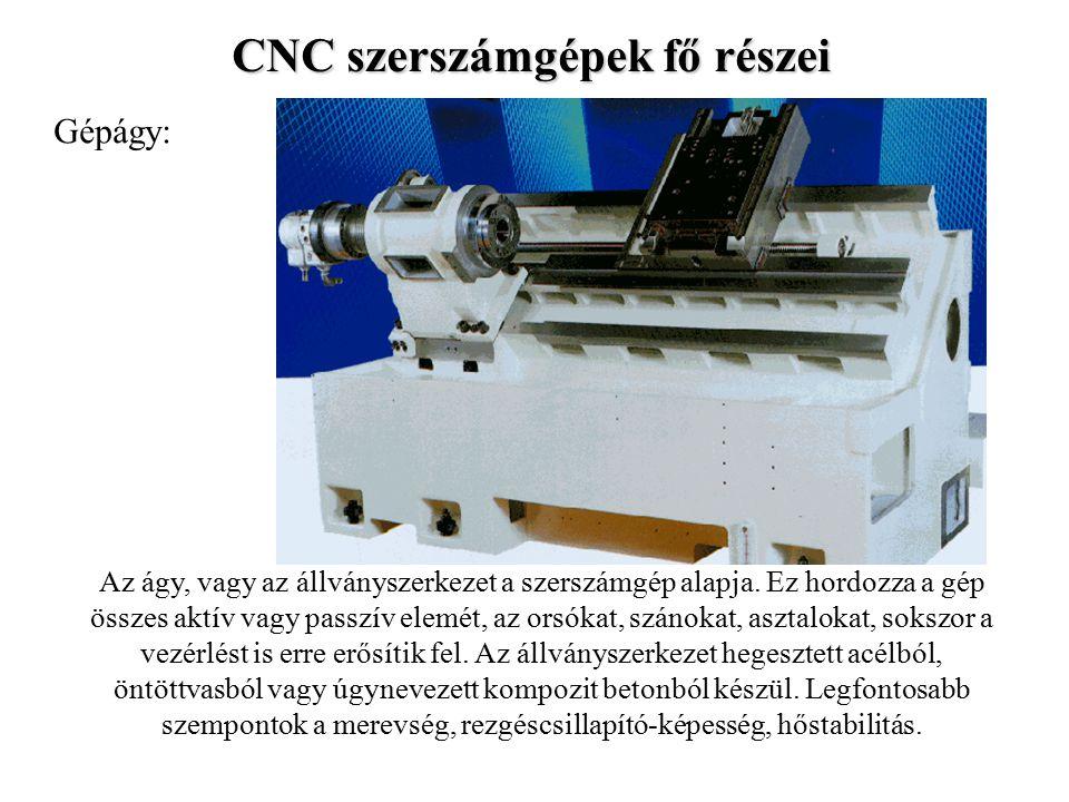 CNC szerszámgépek fő részei Gépágy: Az ágy, vagy az állványszerkezet a szerszámgép alapja.