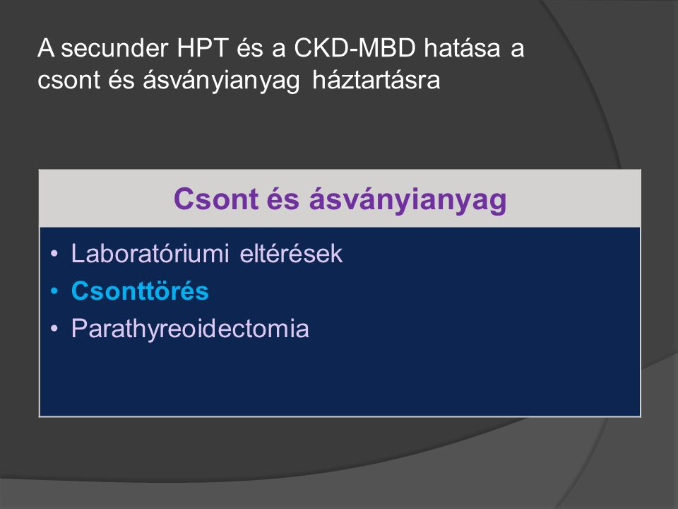 A secunder HPT és a CKD-MBD hatása a csont és ásványianyag háztartásra Csont és ásványianyag Laboratóriumi eltérések Csonttörés Parathyreoidectomia