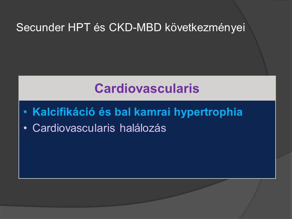 Cardiovascularis Kalcifikáció és bal kamrai hypertrophia Cardiovascularis halálozás Secunder HPT és CKD-MBD következményei