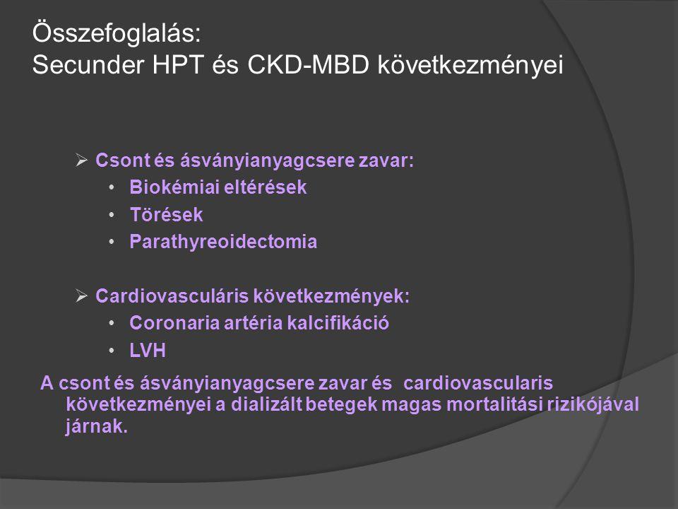Összefoglalás: Secunder HPT és CKD-MBD következményei  Csont és ásványianyagcsere zavar: Biokémiai eltérések Törések Parathyreoidectomia  Cardiovasc