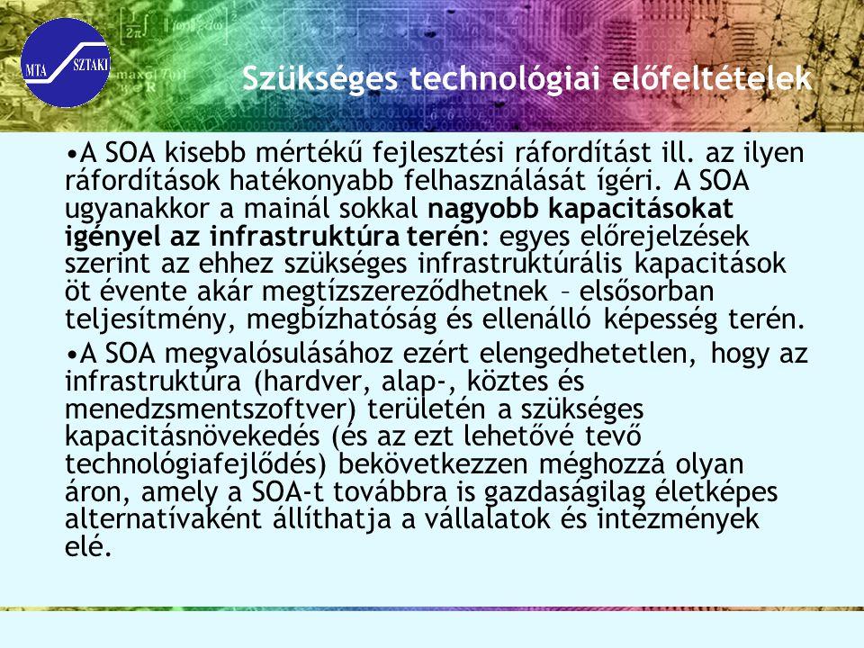 Szükséges technológiai előfeltételek A SOA kisebb mértékű fejlesztési ráfordítást ill.