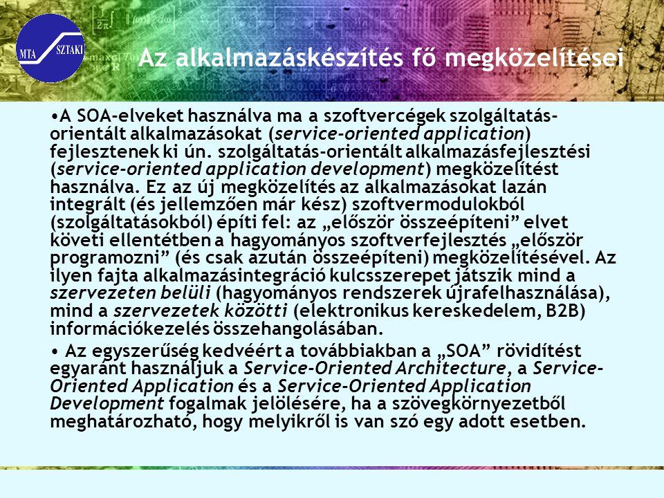 Az alkalmazáskészítés fő megközelítései A SOA-elveket használva ma a szoftvercégek szolgáltatás- orientált alkalmazásokat (service-oriented application) fejlesztenek ki ún.