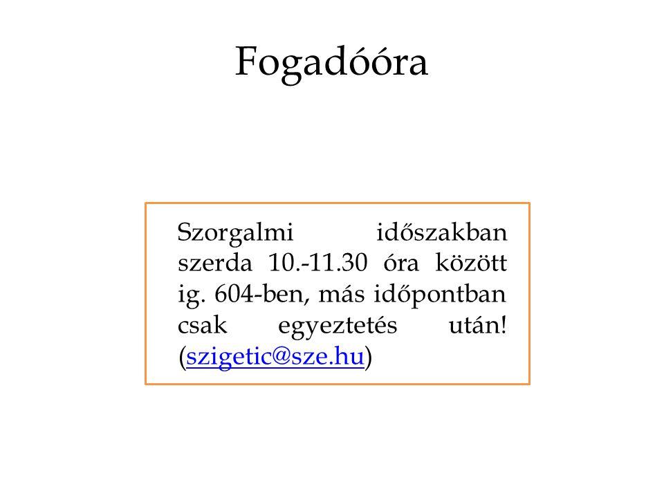 Fogadóóra Szorgalmi időszakban szerda 10.-11.30 óra között ig.