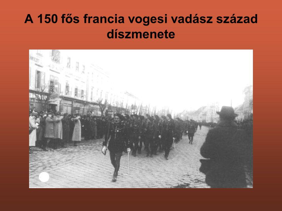 A 150 fős francia vogesi vadász század díszmenete