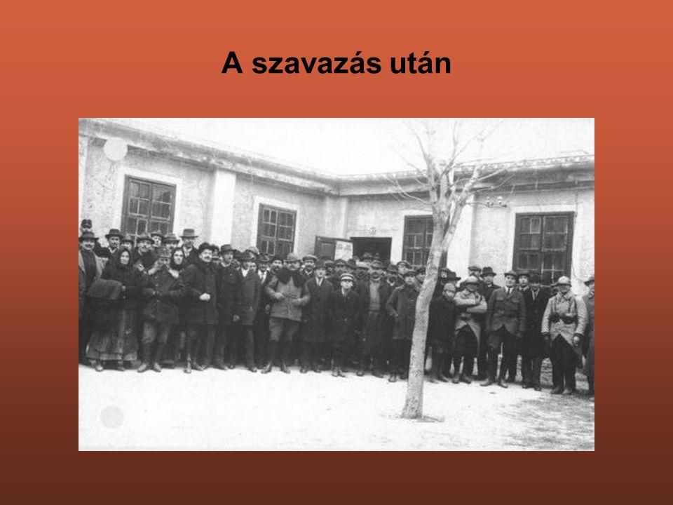 Ünneplő tömeg a későbbi Perkovátz-ház előtt