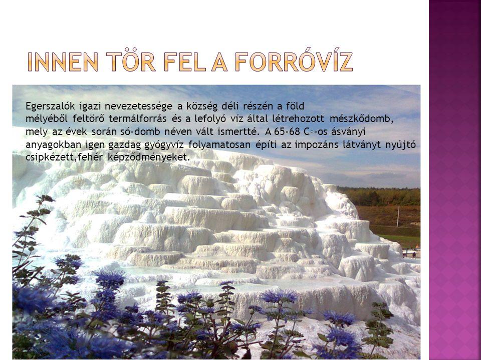 Egerszalók igazi nevezetessége a község déli részén a föld mélyéből feltörő termálforrás és a lefolyó víz által létrehozott mészkődomb, mely az évek során só-domb néven vált ismertté.