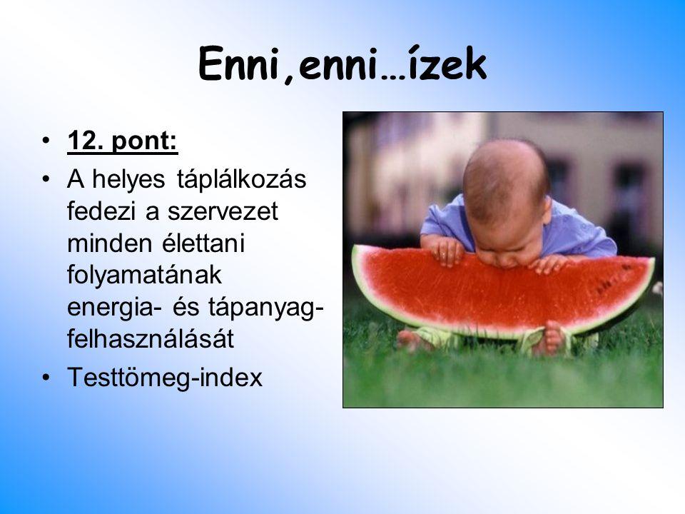 Enni,enni…ízek 12. pont: A helyes táplálkozás fedezi a szervezet minden élettani folyamatának energia- és tápanyag- felhasználását Testtömeg-index