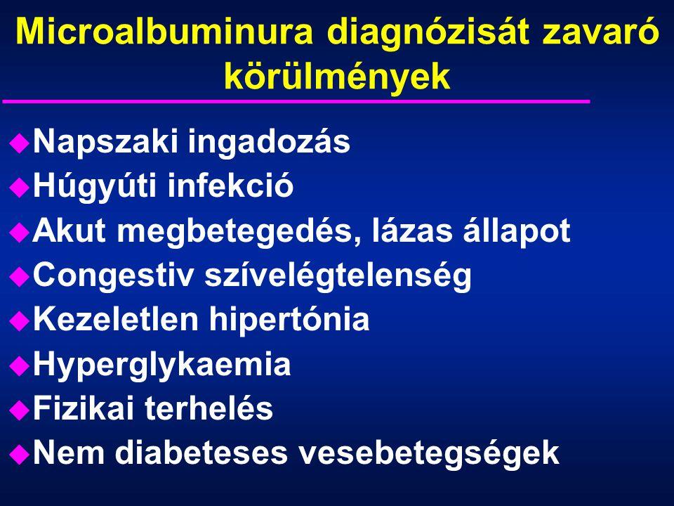 Microalbuminura diagnózisát zavaró körülmények u Napszaki ingadozás u Húgyúti infekció u Akut megbetegedés, lázas állapot u Congestiv szívelégtelenség