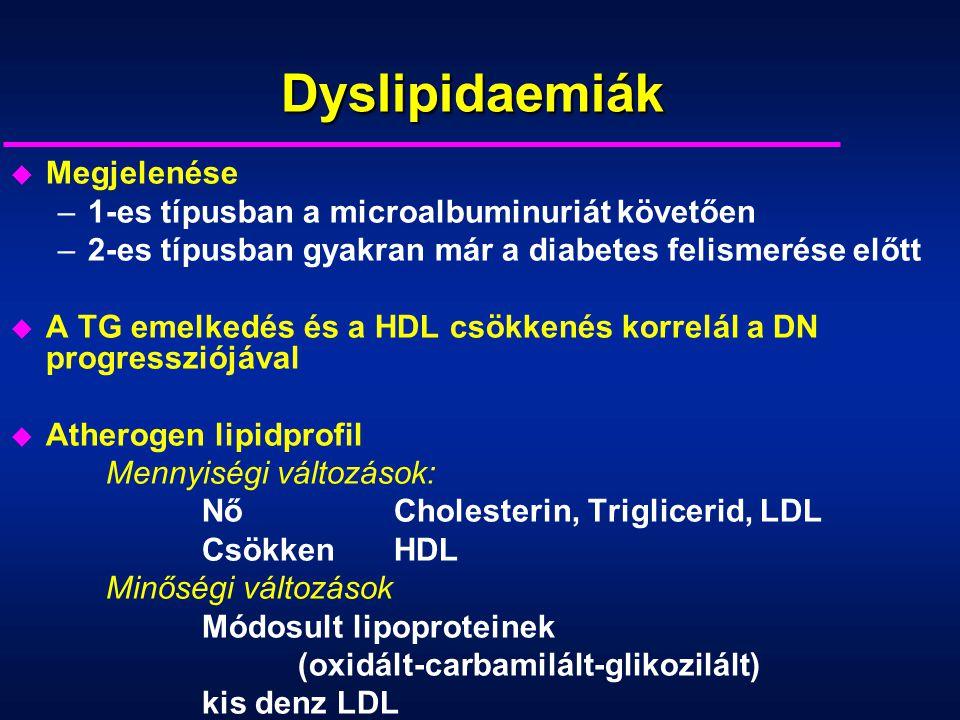 Dyslipidaemiák u Megjelenése –1-es típusban a microalbuminuriát követően –2-es típusban gyakran már a diabetes felismerése előtt u A TG emelkedés és a