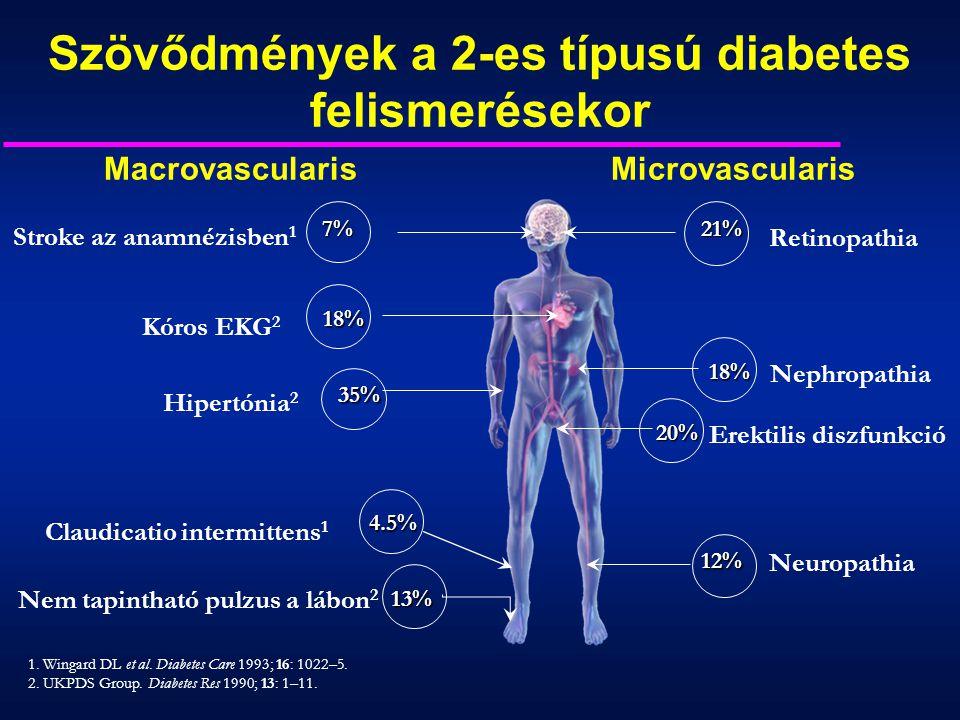 1. Wingard DL et al. Diabetes Care 1993; 16: 1022–5. 2. UKPDS Group. Diabetes Res 1990; 13: 1–11. Szövődmények a 2-es típusú diabetes felismerésekor M
