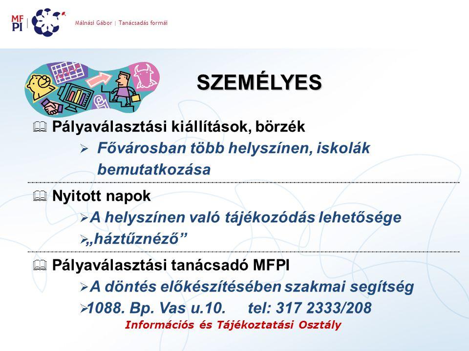 Málnási Gábor | Tanácsadás formái Információs és Tájékoztatási Osztály SZEMÉLYES  Pályaválasztási kiállítások, börzék  Fővárosban több helyszínen, i