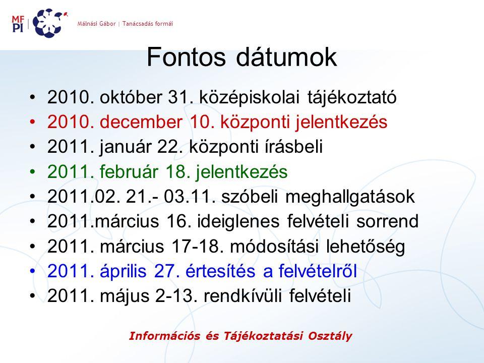 Málnási Gábor | Tanácsadás formái Információs és Tájékoztatási Osztály Fontos dátumok 2010. október 31. középiskolai tájékoztató 2010. december 10. kö