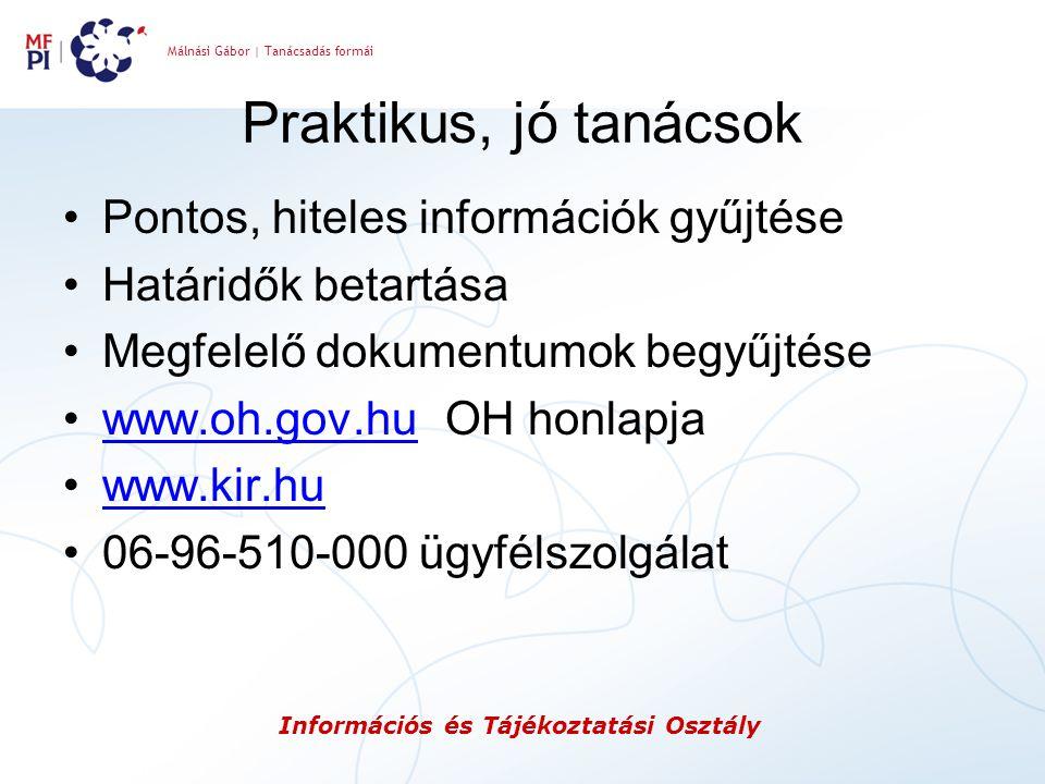 Málnási Gábor | Tanácsadás formái Információs és Tájékoztatási Osztály Praktikus, jó tanácsok Pontos, hiteles információk gyűjtése Határidők betartása