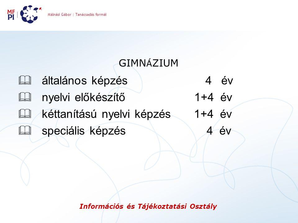 Málnási Gábor | Tanácsadás formái Információs és Tájékoztatási Osztály GIMN Á ZIUM  általános képzés 4 év  nyelvi előkészítő 1+4 év  kéttanítású ny