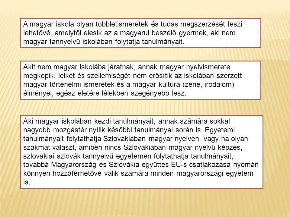 A magyar iskola olyan többletismeretek és tudás megszerzését teszi lehetővé, amelytől elesik az a magyarul beszélő gyermek, aki nem magyar tannyelvű iskolában folytatja tanulmányait.